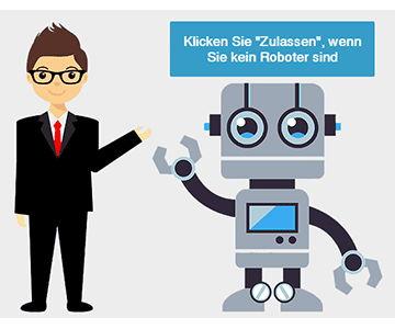 Bild mit Roboter, welches beim Umleitungs-Hack eingeblendet wird