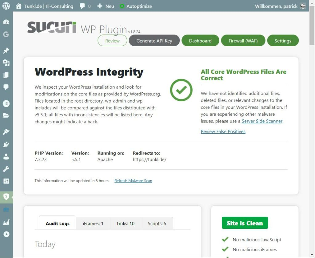 Der Startbildschirm von Sucuri, einem Wordepress Sicherheits Plugin.