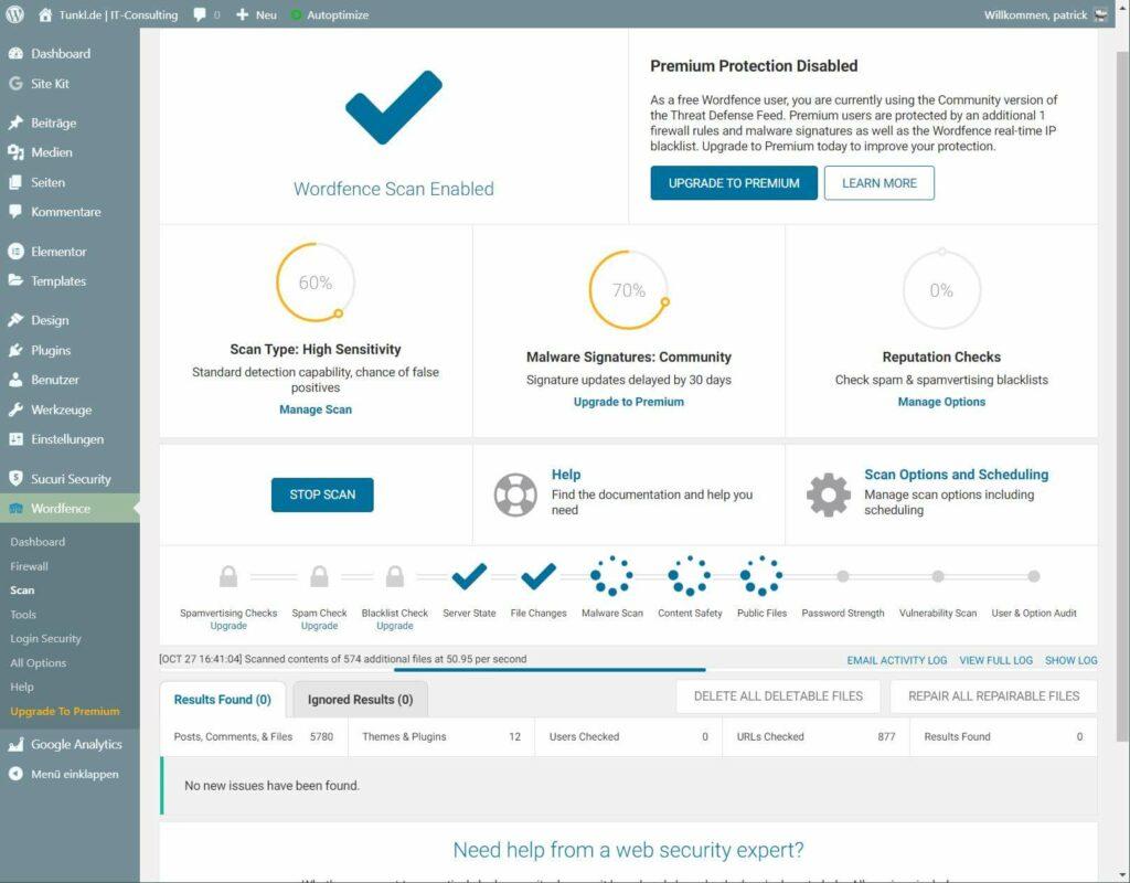 Wordpress-Plugin Wordfence beim Scanvorgang auf Tunkl.de